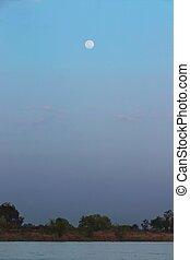 rising moon when sun not down