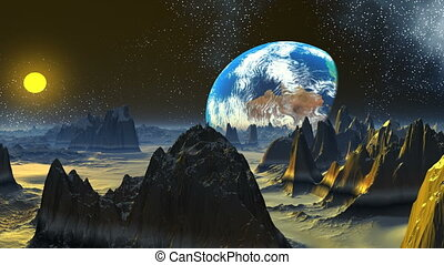 Rising of a planet similar to Earth - The huge blue planet...
