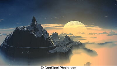 Rising of the blue moon on a fantas
