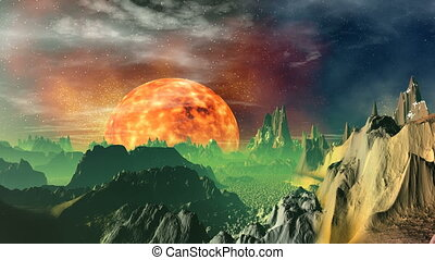 Rising of the heated planet (sun).