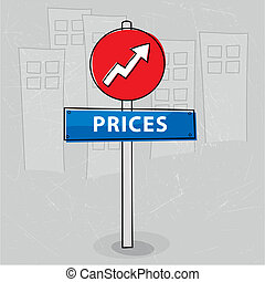 Vector illustration of a sign pointing the increase of prices