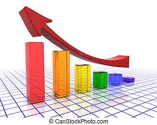 Rising profits - 3D render of a chart showing rising profits