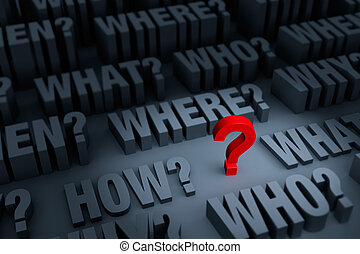 """A small red """"?"""" stands out in a dark background of gray """"WHO?"""", """"WHAT?"""", """"WHERE?"""", """"WHEN?"""", """"HOW?"""", and """"WHY?"""" rising up around it. Focus is on the red question mark."""