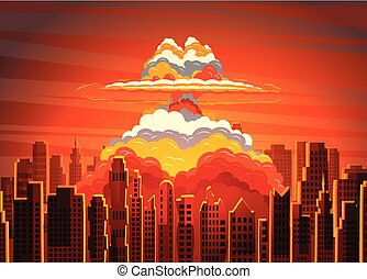 Rising radioactive bright mushroom cloud on city