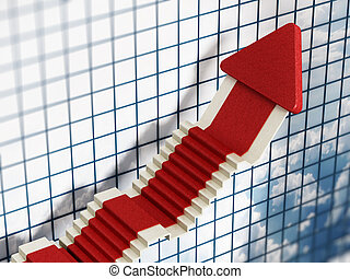 Rising sales arrow with red carpet texture