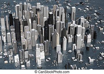 Rising Sea Level - Urban metropolis under water from rising...