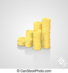 Rising stack of coins