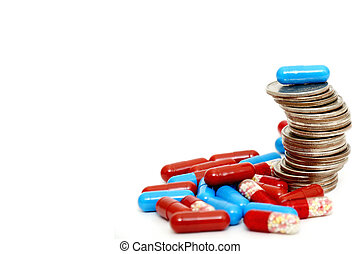 Rising stack of quarters and drugs