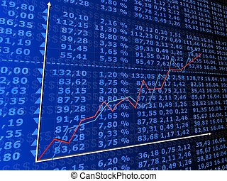 rising stock statistic - 3d rendered illustration of many ...