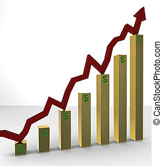 Rising Stocks on Golden Bars - A red stock line rising up on...