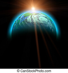 rising sun and planet illustration isolated on black