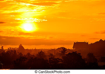 Rising sun in the morning.