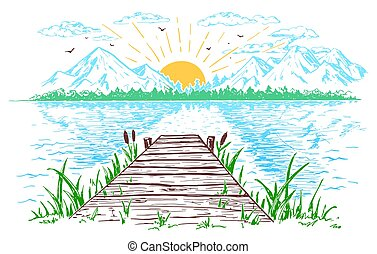 Rising sun on the lake landscape illustration