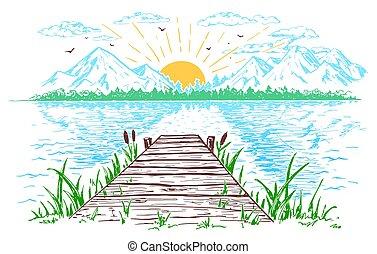 Rising sun on the lake landscape illustration - Rising sun...