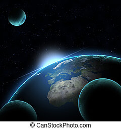 Rising Sun over Earth illustration.
