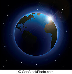 Rising Sun Over The Earth Silhouette