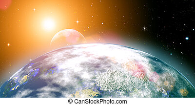 Rising sun over the planet Earth, abstract backgrounds. No...