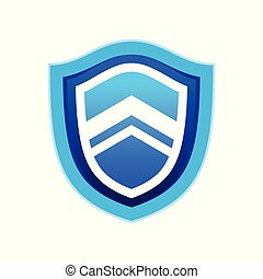 Rising Up Blue Modern Shield Symbol Logo Design