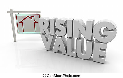 Rising Value Higher Price House for Sale Sign 3d Illustration