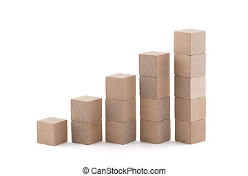 Rising wooden square blocks on white background with clipping path