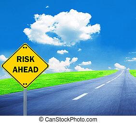 """risk, ahead"", znak, -, handlowe pojęcie"