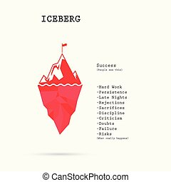 Risk analysis iceberg vector layered diagram. Iceberg on water infographic template. Business and education idea concept. Vector illustration