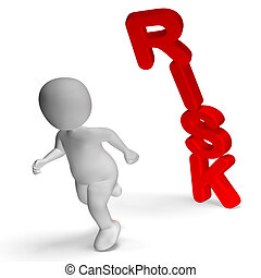 Risk And 3d Character Shows Peril And Uncertainty