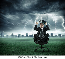 risk and crisis - businessman is repaired by storm with...