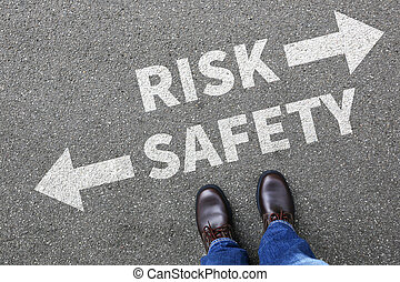 Risk and safety management analysis in company business man concept businessman