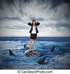 Risk and stress in business - Businesswoman yelling on a...