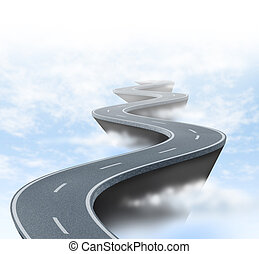 Risk and uncertainty represented by a winding road high above the clouds showing the concept of danger and extreme challenges faced in business and life.