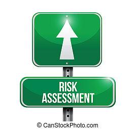 risk assessment road sign illustration design over a white background