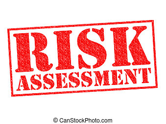 RISK ASSESSMENT red Rubber Stamp over a white background.