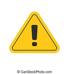 Risk attention road sign or alert caution yellow triangle icon with exclamation mark vector flat cartoon symbol, dangerous hazard or safety information sign clipart isolated on white image