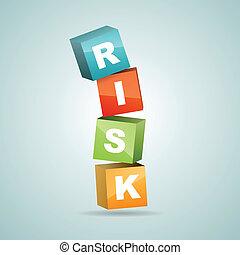 Risk Blocks Falling - Vector illustration of color risk...
