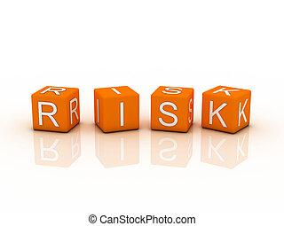 Risk Blocks, orange color on white background
