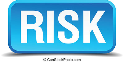 Risk blue 3d realistic square isolated button