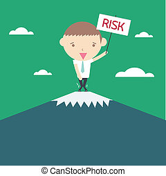 Risk business concept. Cartoon drawing on green background.