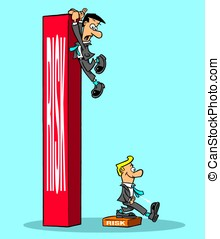 Risk - Cartoon of a big risk and a small risk.
