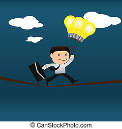 Risk concept. Businessman with light bulb is balancing on a rope