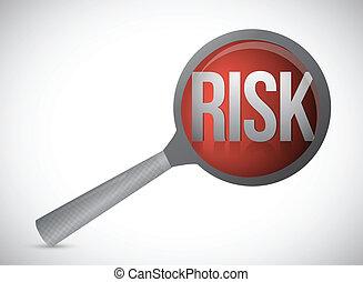 risk concept magnify glass illustration design over a white...