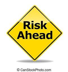 risk concept - risk management concept with road sign ...