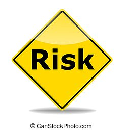 risk concept - risk management concept with road sign ...