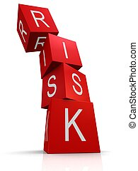 risk cubes - 3d rendered illustration of the word risk on...