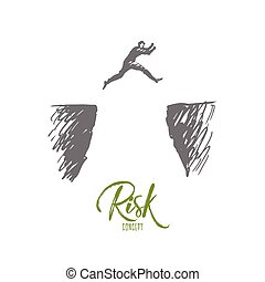 Risk, danger, business, challenge, person concept. Hand drawn isolated vector.