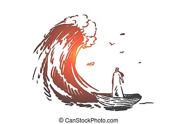 Risk, danger, crisis, bankruptcy concept sketch. Hand drawn isolated vector illustration