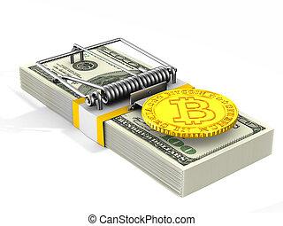 risk., financieel, vrijstaand, illustratie, 3d