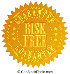 Risk free emblem isolated on white