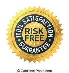 risk-free, garantie, étiquette