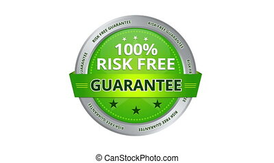 A green animated 100 percent risk free guarantee sign